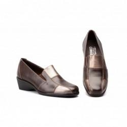 Zapatos Mujer Piel Bronce Cuña