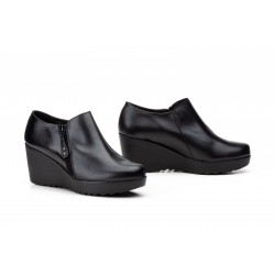 Zapatos mujer de piel con cremallera y de cuña