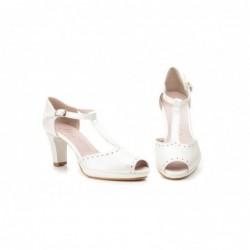 Zapatos Mujer Piel Beige Tacón